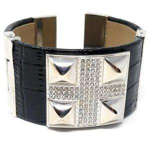 Women's Leather Wrist Cuff Crystal Bracelet